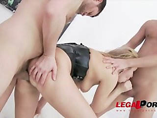Blonde in double anal penetration and piss
