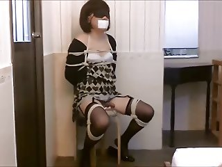 Crossdresser bondage masturbation