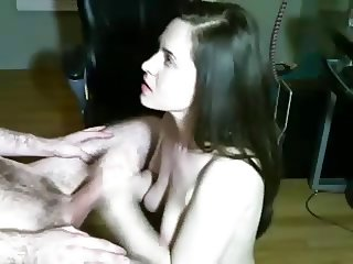 Great handjob and jizz on her boobs