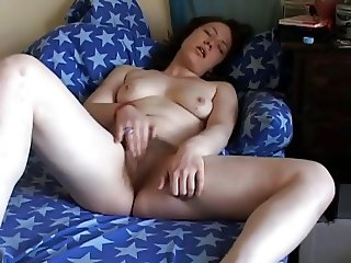 My Horny Fat Chubby friend plays with her hairy pussy