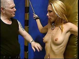 Cute blonde bound by her master and punished