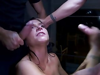 Cocks in her mouth, cum on her face
