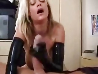 Blonde Milf wearing latex gloves big cock handjob
