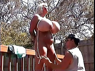 Enormous tits of submissive blonde milf housewife