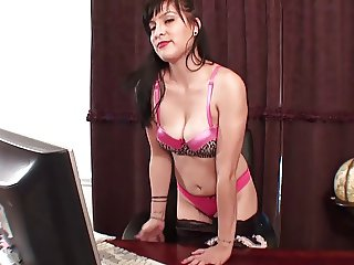Maid Fingering her pussy in a chair