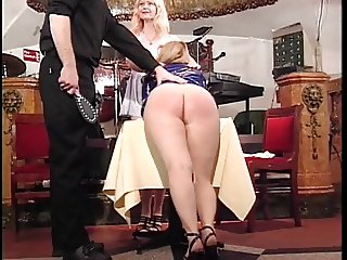 Two blonde hotties get their butt spanked by stud