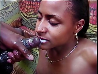 Horny black couple 69 on couch