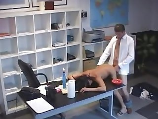 Skinny brunette fuck in the office, no cumshot