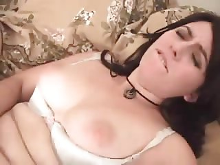 Cute hairy brunette with cock and toy in all holes