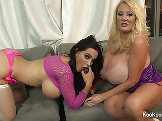 Amy Anderssen and Kayla Kleevage tease the camera