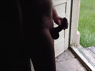 Girlfriend CFNM Handjob at the open door