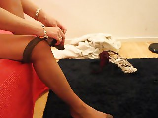 Putting on nylon pantyhose