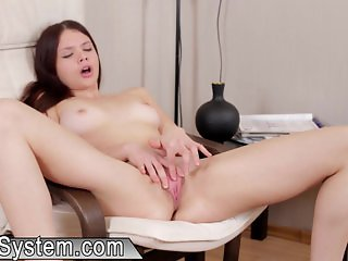 Hot legal young babe with wet pussy masturbat