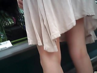 Up skirt  young wife