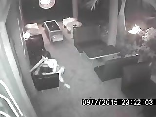 Surveillance Camera Catches Thai Whore Having Sex at cafe