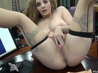 Brunette woman with hairy pussy and big dildo