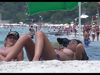 mom and son at the beach huge boobs