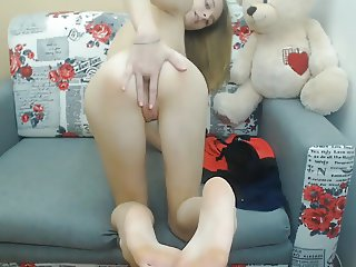 Blond teen solo anal