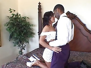 White cougar gets a long black dick in her ass