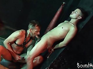 Kinky older dude binds a gay boy for oral SM