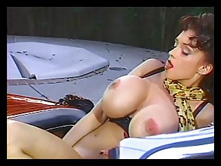 Hot brunette with huge tits dildo fucking