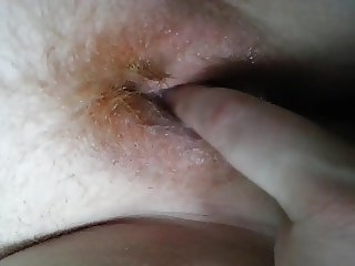 Fingering Sophie's creamy hairy ginger pussy