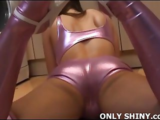 Playing with my pussy in PVC panties