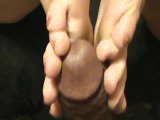 White girl footjobs black cock