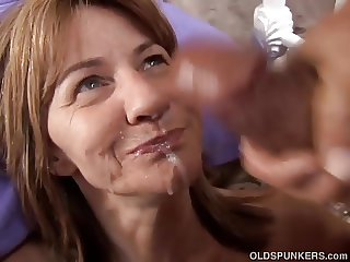 Shy mature amateur enjoys a sticky facial cumshot