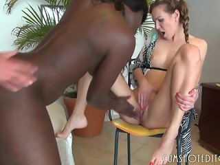 German Guy Fucks A Black Woman In Front Of