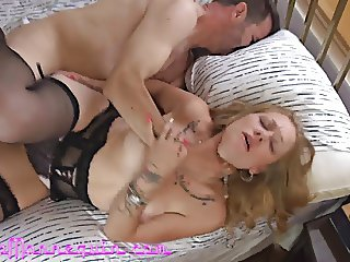 Stunning Blonde MILF In Lingerie Cums Hard Fucking Huge Cock