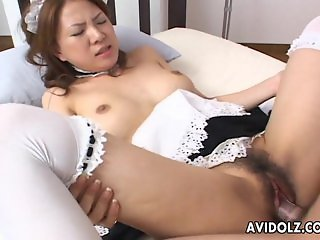 Asian maid getting fucked hard by the dude