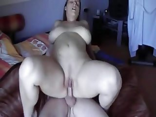 Slut Cheating Wife with big ass and shaven pussy riding cock