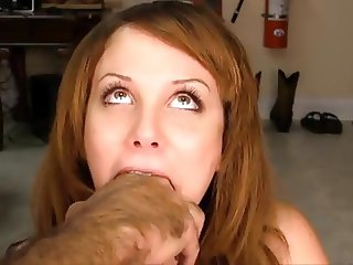 Cute girl gets deep throat training
