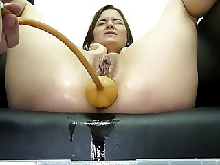 Miss April Suffers A Huge Soapy Enema With The Bardex