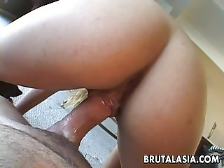 Asian blonde cock sucker fucking the dude in close up