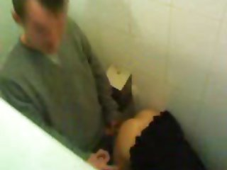 Dirty Blonde slut gets it in public toilet