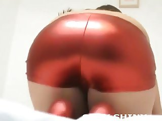 My shiny gold panties cling to my pussy so tightly