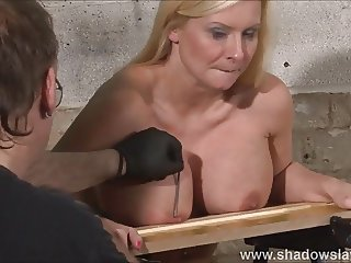 Tit nailing kink of busty Melanie Moon in pussy pain