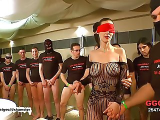 Gangbang with a blindfolded milf