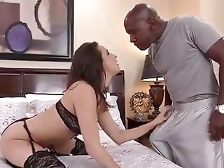 Brunette Ashley sucking Mandingo big black cock