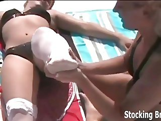 Carmen and Jessie get turned on by stockings