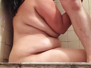 Shower rimming and blowjob