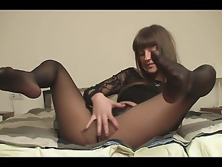 Teen tease in black pantyhose