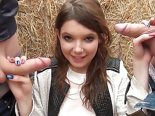 French teen Angela double fucked