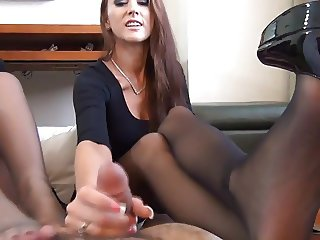 Hot Double Pantyhose Footjob