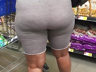 Ghetto booty milf in tight grey shorts see through