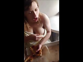 Russian 18 yo girl show her big tits
