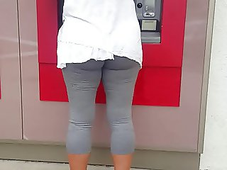 Candid bubble butt milf at Wells Fargo ATM