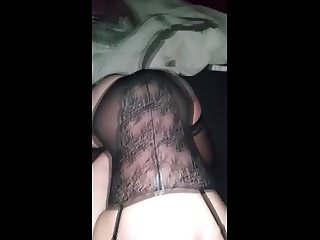 Black lingerie and doggy style fuck
